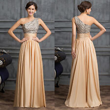 One shoulder Sequin Adorned Ball Gown Formal Evening Prom Party Dress 8-Size NEW