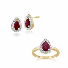 Gemondo 9ct Yellow Gold Ruby & Diamond Pear Cluster Stud Earring & Ring Set