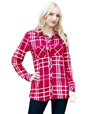 Derek Heart Ladies Burgundy Button Down Plaid Cotton Long Sleeve Shirt