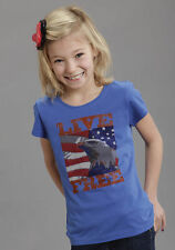 Roper Girls Blue 100% Cotton S/S Bald Eagle Live Free Graphic Tee T-Shirt