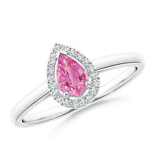 0.50 ctw Natural Diamond Halo Pear Shape Pink Sapphire Cocktail Ring 14k Gold