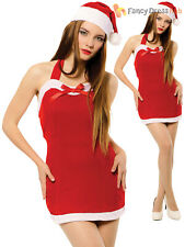 Ladies Sexy Christmas Costume + Hat Adults Santa Fancy Dress Womens Xmas Outfit