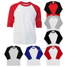 3/4 Sleeve Plain T-Shirt Baseball Tee Raglan Jersey Sports Men's Tee S-2XL