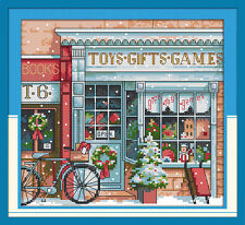 Gift toy shop cross stitch kits Christmas winter snow counted print fabric set