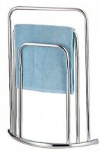 CHROME 3 TIER 3 BAR BOW FRONTED CURVED FREE STANDING TOWEL RAIL STAND. Shipping