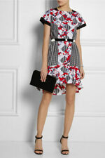 NEW Peter Pilotto Target Belted Dress Shirt dress BLACK WHITE RED BLUE Floral 12