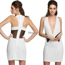 Fashion Women Sleeveless Deep V-neck Back Hollow Out Party Cocktail Dress BF9