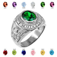 Solid 14k White Gold US Army Men's CZ Birthstone Ring