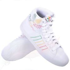 MEN'S ADIDAS INDOOR TENNIS MID WHITE RED YELLOW TRAINERS V21351