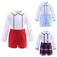 Baby Boys Kids Long Sleeve Shirt + Shorts Pants Set Clothes Outfit Party Suit