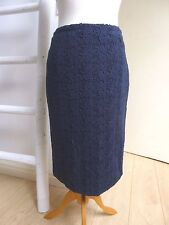 REDUCED BNWT Pure Collection  cotton lace navy lined pencil skirt  8 10 RRP £99
