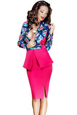 Sexy Women Long Sleeve Bodycon  2 Pieces Floral Print Cocktail  Clubwear Dress