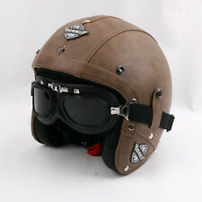 MOTORCYCLE VINTAGE LEATHER HELMET OPEN FACE CAFE RACER BOBBER CHOPER CUSTOM HELM