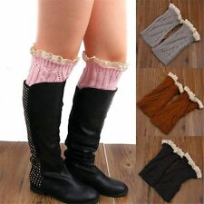 Fashion Lady Sock Crochet Knit Lace Trim Leg Warmers Cuffs Toppers Boot Stocking