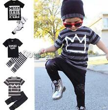 Toddler Baby Boys Girls Kids Tops T-shirt Pants Outfits Top Shirts Trousers Set