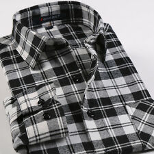 Fashion Mens Long Sleeve Flannel Plaids Checks Casual Slim Dress Shirts Tops