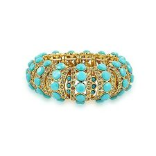 Bling Jewellery Gold Plated Blue Crystal Stretch Bracelet. Free Delivery