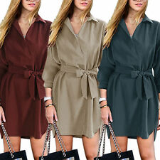New Women Blouse Long Sleeve Ladies T Shirt Casual Loose Short Dress Tops