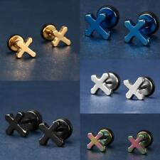 1 Pair Unisex Stainless Steel Punk Cross Ear Studs Earrings Jewelry
