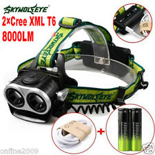 8000LM 2X XM-L T6 LED Headlamp Head Light Rechargeable USB+2x 18650 Battery free