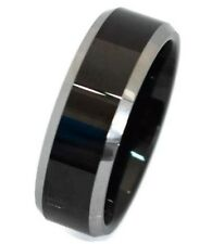 Black Two Tone Tungsten Carbide Ring  Engagement Wedding Ring Band 8 MM.