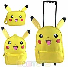 "Nintendo Pokemon Pikachu Lunch Bag, 16"" Large School Backpack, Rolling Bag (1pc)"