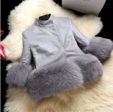 New Popular Women's Short Slim Coat Jacket PU Leather Faux Fur Hem Jacket Coat