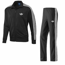 Mens Adidas Originals ADI Firebird Black Tracksuit Track Jacket Top Pant Fleece