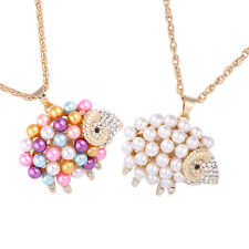 Fashion Womens Pearl Cute Sheep Pendants Chain Sweater Necklace Jewelry Gift