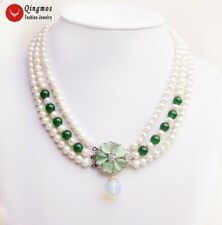 """White Round 6-7mm Natural Pearl and Green Jade 3 Strands 18"""" Necklace for Women"""