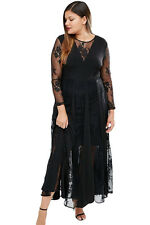 Black Full Sleeve Sheer Women Dress Pleated Sexy Cocktail Evening Maxi Dress