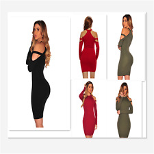 New Sexy Women Strappy Cold Shoulder Long Sleeve Black Mini Cocktail Party Dress
