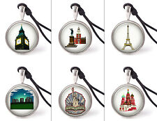 Vietguild's Tourist Attractions Around The World Necklace Pendants Pewter Silver