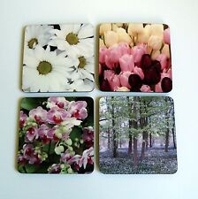 Coasters Set of 4 Flower Drinks Mats Table Garden Floral Boxed Gift Daisy Tulip