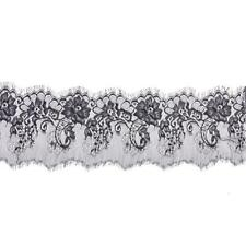 3 Yards Eyelash Lace Trim DIY Craft Sewing Applique 15cm Wide White/Black