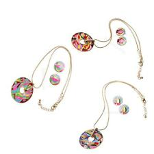 Ethnic Chain Colorful Enamel Torch Pattern Pendant Necklace Round Stud Earrings