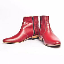 Handmade Mens Red Beatle Ankle Boots Men Chelsea Side zipper Leather Boots