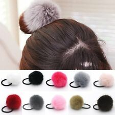 Statement Rabbit Fur Ball Elastic Hair Ties Bands Rope Ponytail Holders Hairband