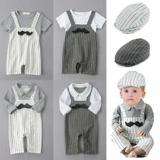 Baby Boy Wedding Christening Tuxedo Birthday Party Suit Outfit Clothes+Hat Set