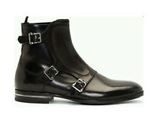 Handmade Black Double Monk Ankle High Buckle Leather Boots Classic Black Shoes