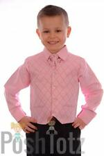 Baby Boys Formal Suit Wedding Pageboy 4pc Pink & Black suits (0-3mths - 15yrs)