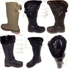 LADIES WOMENS QUILTED WINTER GRIP SOLE MID CALF FUR WARM SNOW BOOTS SHOE