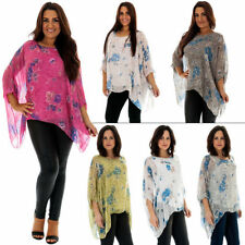 New Ladies Stylish Italian Silk Floral Rose PrintBaggy Tunic Top Size 12 to 18