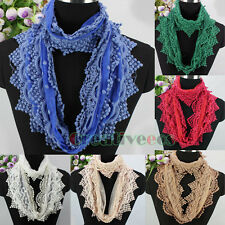 Fashion Women's Elegant Embroidery Dots Mesh Tulle Lace Trim Infinity Scarf New