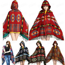 Bohemian Womens Fashion Scarf Shawl Toggle Cape Coat Fringe Poncho Hoodie Hooded