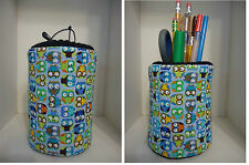 """Owls & More Owls Fabric Eyeglass Case Holder """"OR"""" Fabric Pencil Holder nice Gift"""