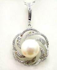 11-13mm White Flat Round Pearl silver Rose Pendant silver 925 16'' necklace-6121