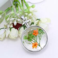 Hot Glass Dried Flower Locket Pendant Necklace Silver Chain