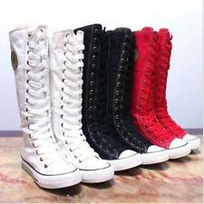 New Hot Punk Canvas Boots Sneaker Women Girl's Shoes Knee High Lace UP Boots DD