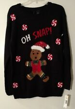 Womens Sweater Black Fuzzy Stitches on Gingerbread Man Long Fit New Directions M